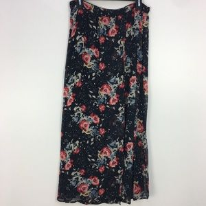 NWT Zara Black Multicolored Floral Wrap Skirt